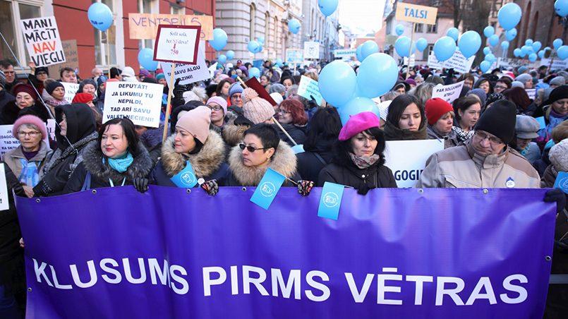 Акции протестов учителей в Риге / Фото: BB.lv