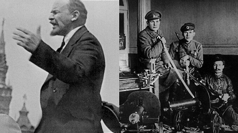 Слева направо: Латышские стрелки сформировали личную охрану Владимира Ильича Ленина в Кремле | Латышские стрелки были направлены в Петроград для наведения порядка