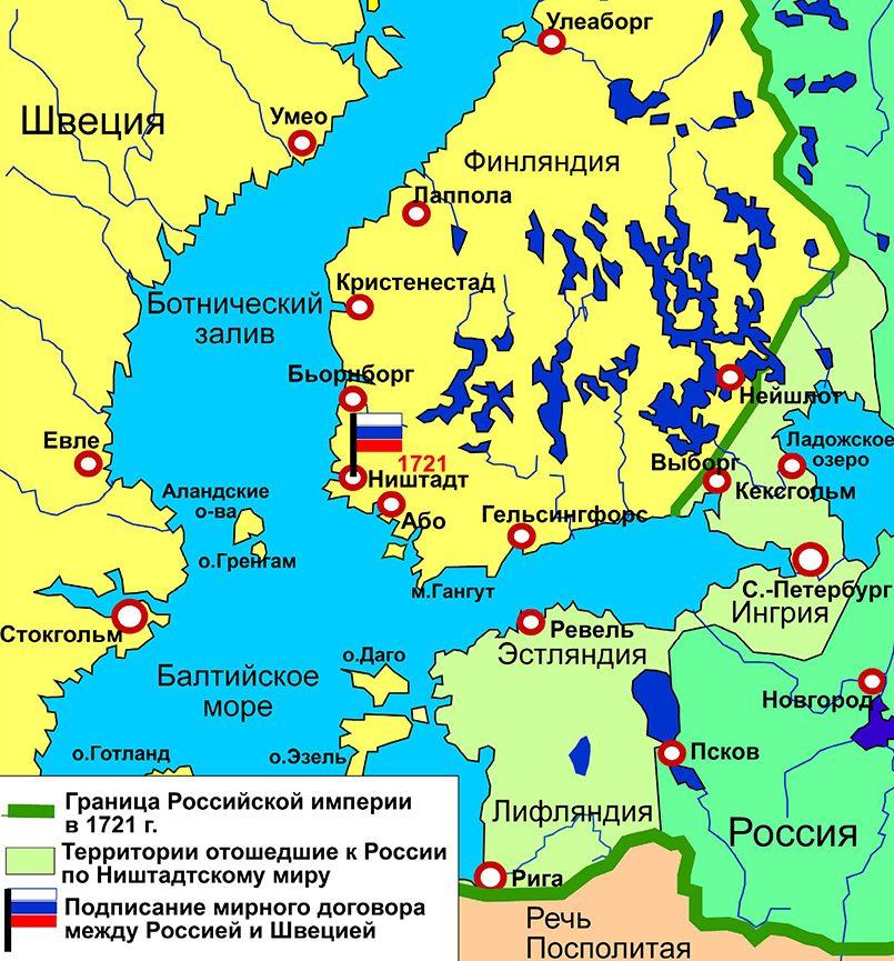Карта итогов Великой Северной войны