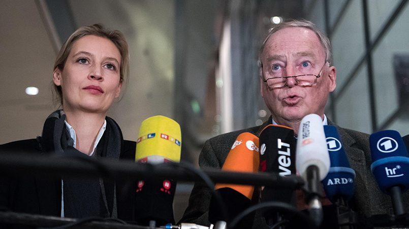 Лидеры «Альтернативы для Германии» Алис Вайдель и Александр Гауланд / Фото: dw.com