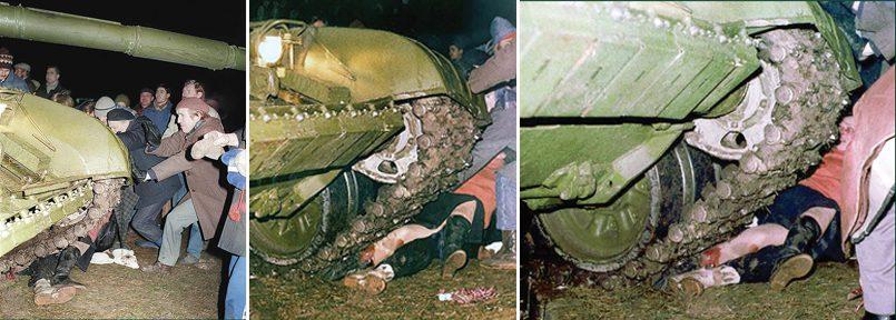 Фотографии так называемого наезда танка на А.-М. Пладите и Л. Тручиляускайте / Фото: © В. Усинавичюс и А. Сабаляускас