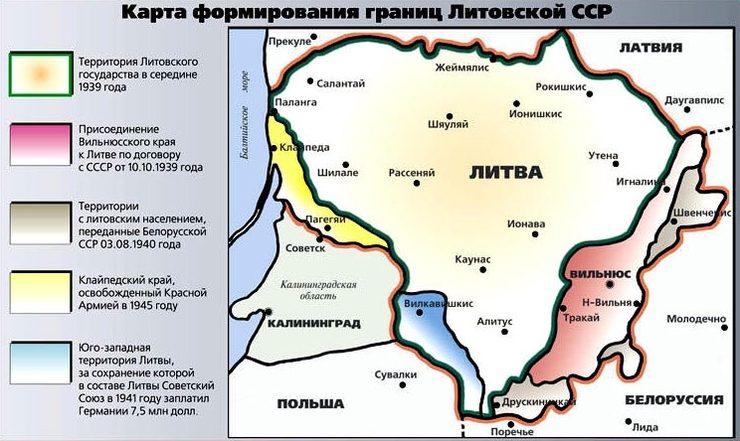 Территории Литвы, полученные в подарок от руководства СССР в разные годы