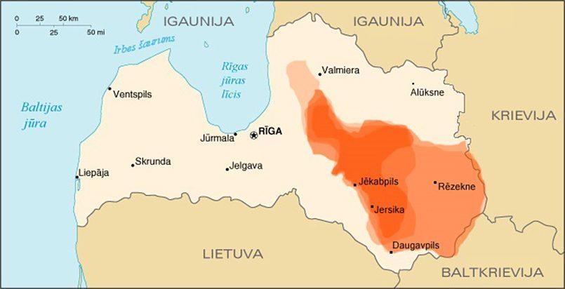 Герцикское княжество на карте Латвии. Балто-славянское государство, аффилированное с Полоцком