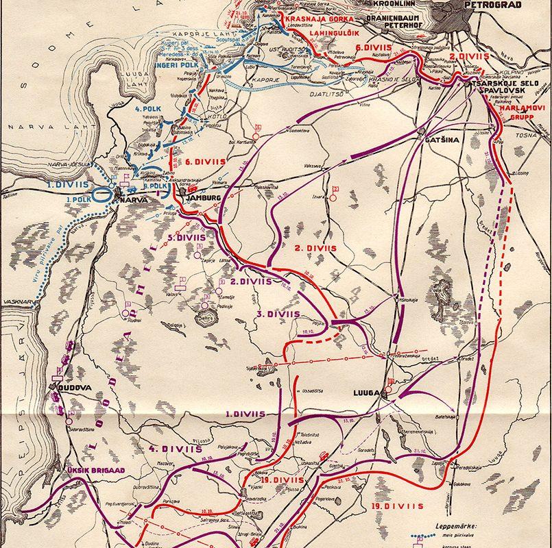 Схема наступления Северо-Западной армии (фиолетовый цвет) и частей эстонской армии (синий цвет) на Петроград в октябре 1919 года (эст.) / Фото: wikimedia.org