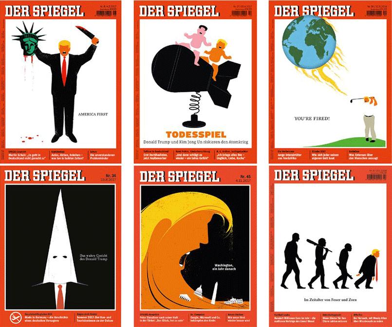 Обложки с Дональдом Трампом в Spiegel / Фото: D&AD