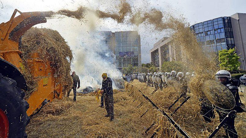 Акция протеста фермеров у здания Европарламента в Брюсселе / Фото: ТВ Центр