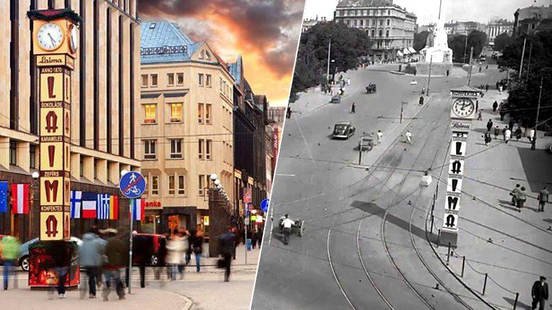 Слева направо: часы Лайма в центре Риги, часы Лайма в конце 1930-х годов