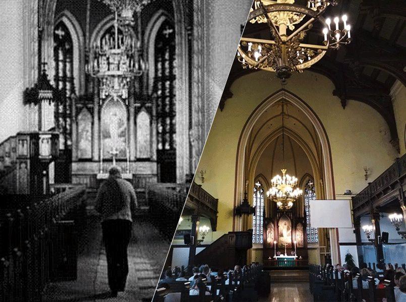 Слева направо: Пастор в интерьерах церкви Святого Павла, Рига, район Гризинькалнс   Церковь Святого Павла в преддверии концерта органной музыки. Современный вид