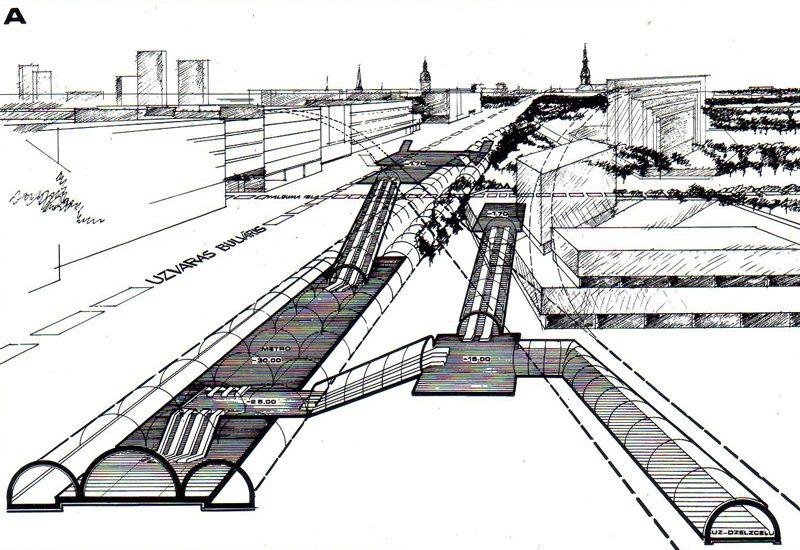 Проекция прохождения линии и посадки станции Узварас (Победная), которая была запланирована под одноименным бульваром. 1981 год
