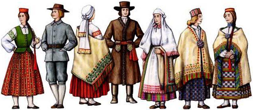 Латышские крестьяне в национальных костюмах, реконструкция