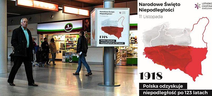 Размещенная в аэропорту Варшавы карта с польским Львовом
