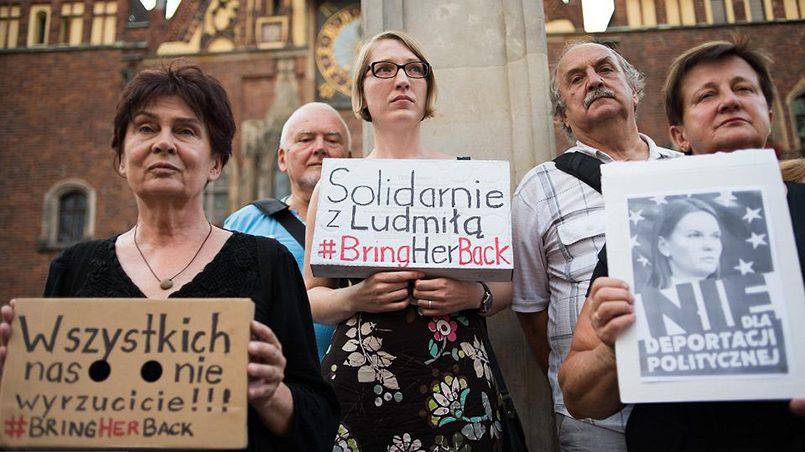 Акция солидарности с Людмилой Козловской во Вроцлаве. Фото: wroclaw.wyborcza.pl