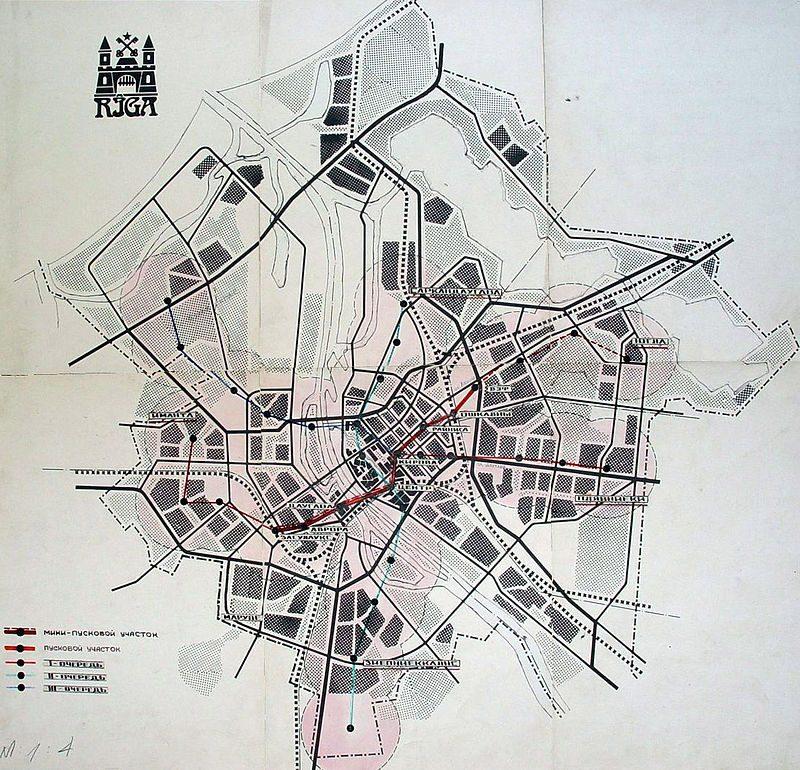 Градостроительный план со схемой Рижского метро. 1986 год