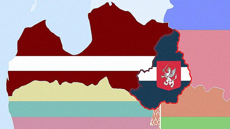 На карте отдельно показан флаг Латгалии / Фото: atrizno - LiveJournal
