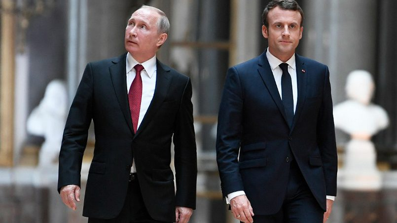 Президент России Владимир Путин и президент Франции Эммануэль Макрон / Фото: m24.ru