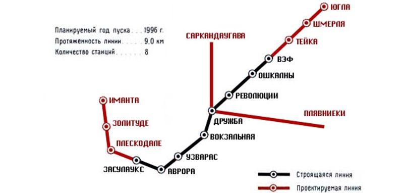 Схема Рижского метрополитена со станциями