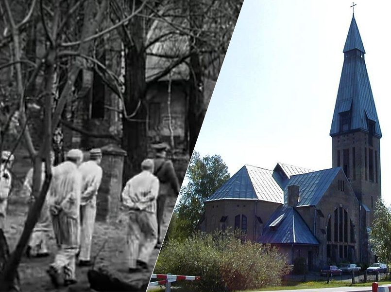 Церковь Святого Креста в Чиекуркалнсе, слева направо: кадр из фильма и современный вид