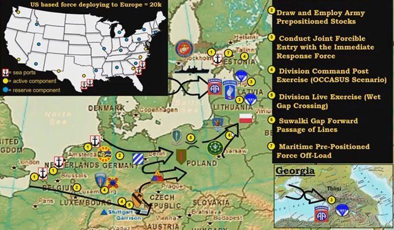 Карта ключевых событий Defender-Europe 2020 / Фото: Министерство обороны США