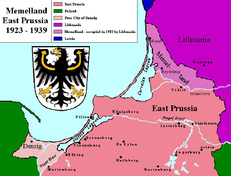 Мемельланд, переданный в состав Литвы после 1923 года.