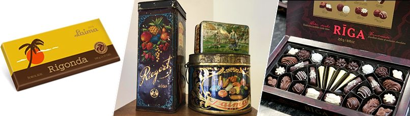 Слева направо: Лайма, Ригонда   Лайма, образцы старых упаковок   Лайма, набор конфет