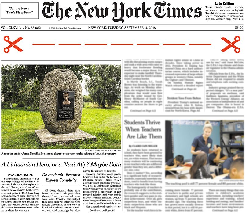 Источник: Print version of NYT on Sept. 11, 2018, Page A1 of the New York edition