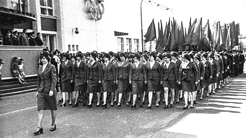 Торжественный марш студентов Института экономики и финансов в честь 60-летнего юбилея РКИИГА, 1979 год, Рига