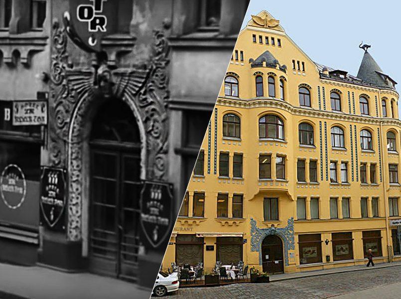 Слева направо: Дом с черными кошками, исполнивший роль гостиницы в центре Берлина — места, где Штирлиц в конце концов встретился с Борманом   Кошкин дом, современный вид