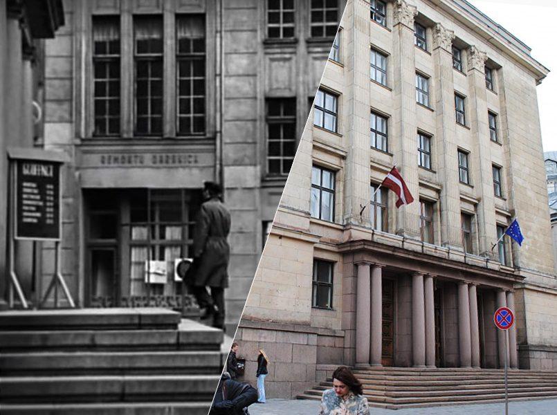 Слева направо: Штирлиц входит в Палеонтологический музей (министерство финансов Латвии). На заднем плане надпись на латышском Remontu darbnīca   Минфин Латвии сегодня