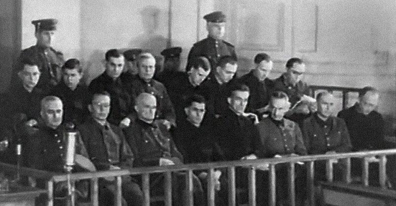 На скамье подсудимых 18 нацистских преступников, многих из них приговорили к смертной казни