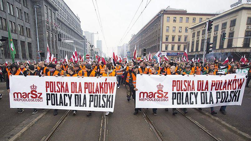 Надпись на транспоранте «Польша для поляков» / Фото: Global Look Press