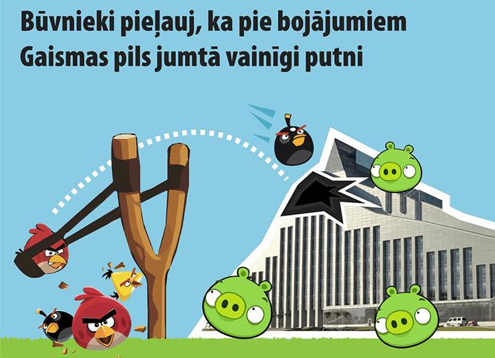 Также атаке птиц подвергся «Замок света». Карикатура мэра Риги Нила Ушакова. Подпись к картинке: «У Латвийской национальной библиотеки надо уже ремонтировать крышу. Обойдется это в 170 000 евро»