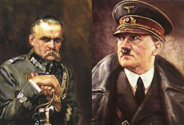 Адольф Гитлер и Юзеф Пилсудский