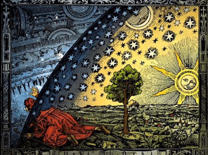 Но у них не оказалось под рукой небесно-синей ткани — так и появились на небе солнце, луна и звёзды совсем другого цвета, чем весь небосвод