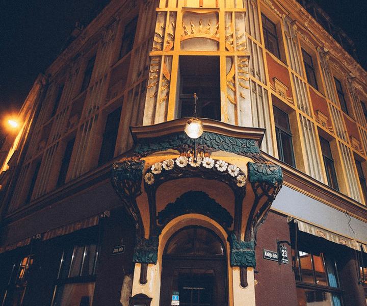 Пауль Мондельштам. Доходный дом, 1903 г. Латвия, Рига, ул. Калею, д. 23 (на углу улиц Калею и Яна).