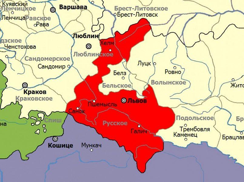 Столицей Русского воеводства был Львов. Эти земли вошли в состав Австро-Венгрии после Первого раздела Речи Посполитой