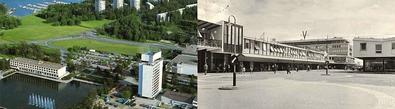 Слева направо: Финский город Тапиола, 1980-е годы | Центр стокгольмского района Веллингбю