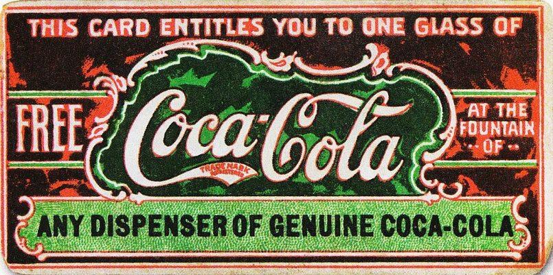 Купон на бесплатный стакан «Кока-Колы», 1888 / Источник: Wikipedia