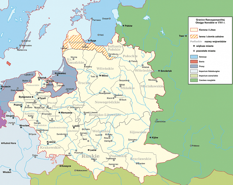Границы Речи Посполитой в 1701 году / Фото: wikimedia.org