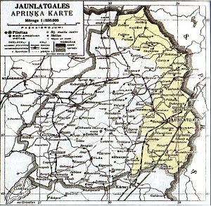Карта Яунлатгальского уезда. Желтым закрашены территории, отнятые у России в 1920 году / Фото: anaga.ru
