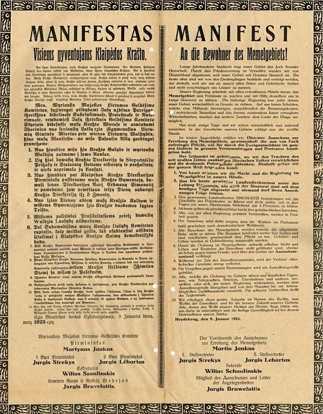Манифест о вызволении Малой Литвы. 9 января 1923 года