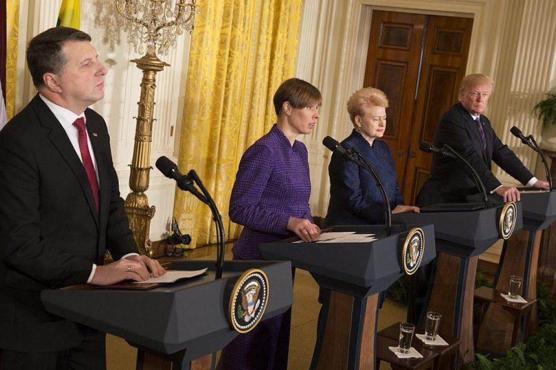 Пресс-конференция по итогам встречи президентов Латвии, Эстонии, Литвы с американским коллегой / Фото: Gorod.lv